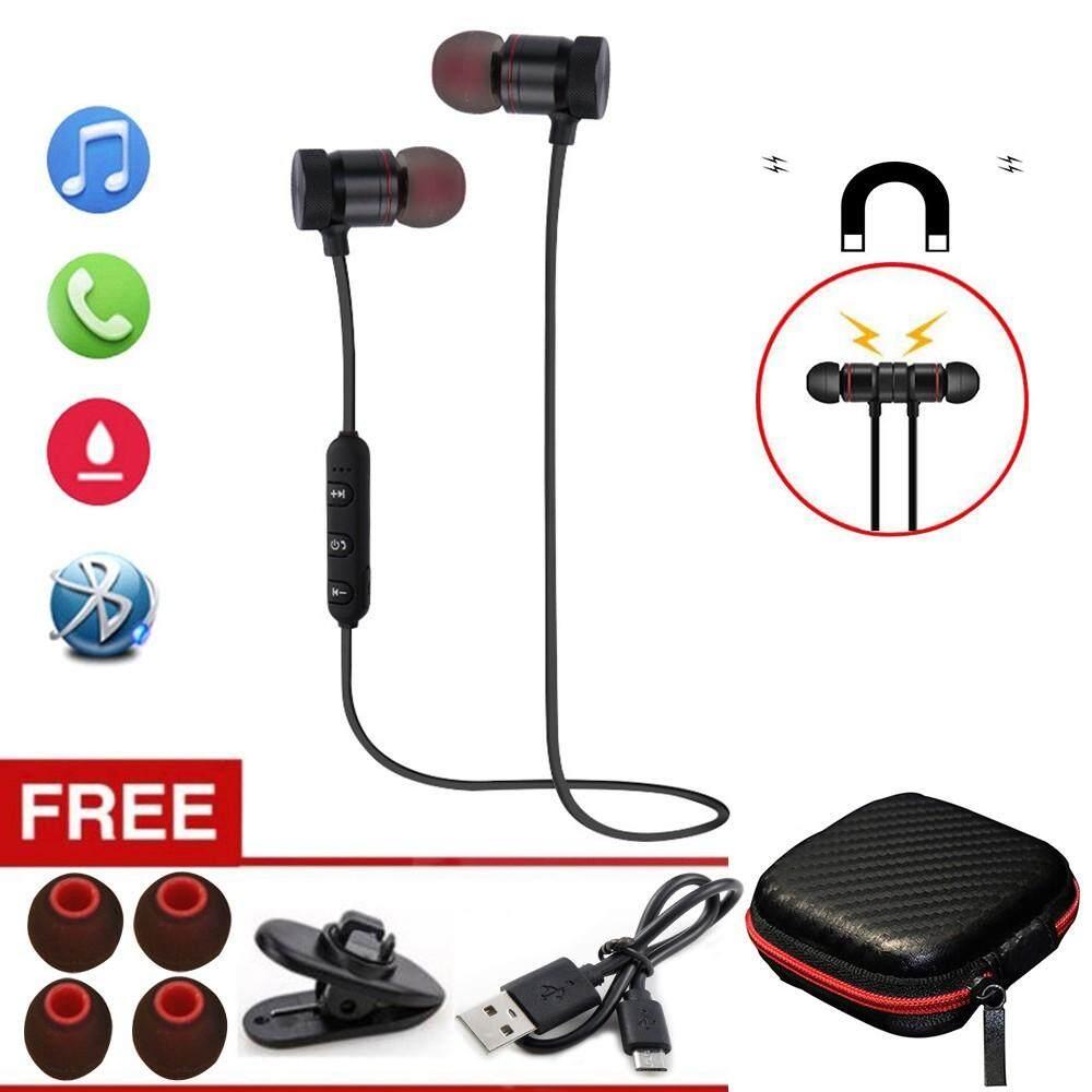 C2 Headphone Bluetooth Nirkabel Telinga Waktu V4.1 Magnetic In-Ear Earphone Stereo Olahraga