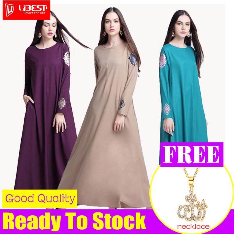 2018 Baru Muslimah Baju Kurung Wanita Warna Solid Gaun Cetakan Tengah AliExpress Hot Nasional Angin Gamis Maxi Panjang Ukuran Plus Gaun untuk Gaun Perempuan Muslimah Pakaian