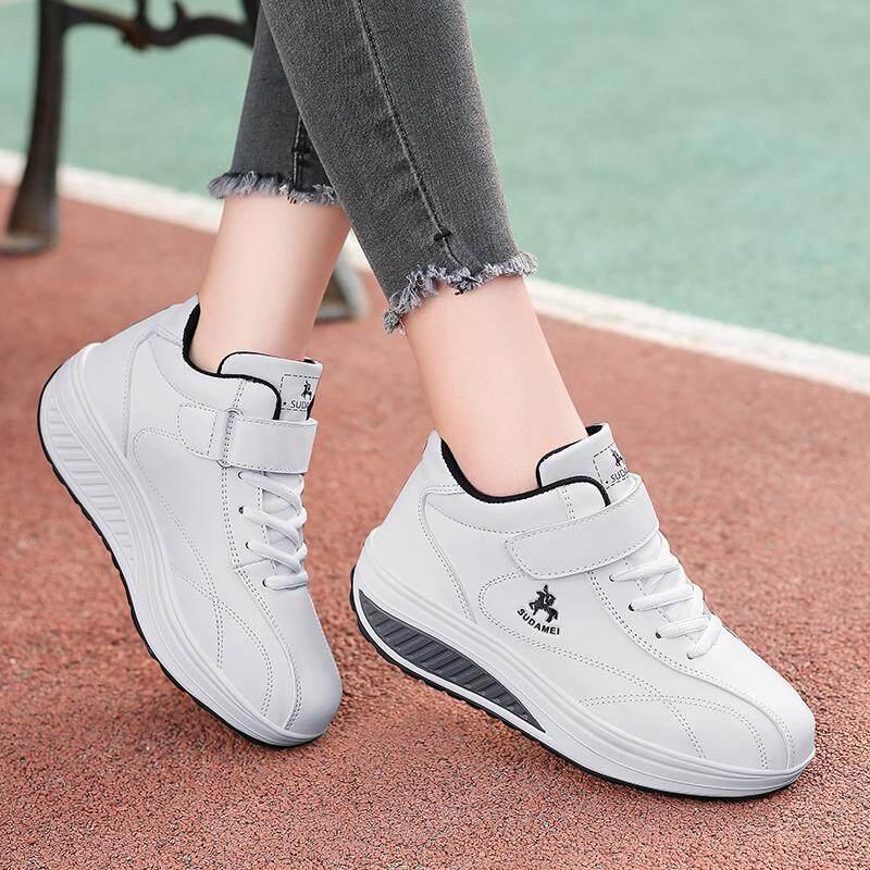 2018 เสื้อผ้าแฟชั่น ฤดูใบไม้ผลิและฤดูใบไม้ร่วงใหม่สไตล์เกาหลีผ้าลายดอกรองเท้าคุณแม่ระบายอากาศกีฟาลำลองพื้นหนาเพิ่มความสูงรองเท้า Shake รองเท้าสตรี By Taobao Collection.