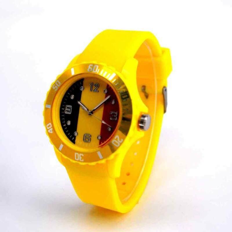 huyia World Cup 2018 Flag Pattern Dial Silicone Band Analog Quartz Wrist Watch Soft Belgium Malaysia
