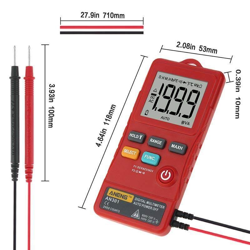 AN301 1999 Tính Mini Vạn Năng Kỹ Thuật Số AC DC Vôn Kế Ohm Điện Áp Tần Số Đồng Hồ với NCV LED Multimetre