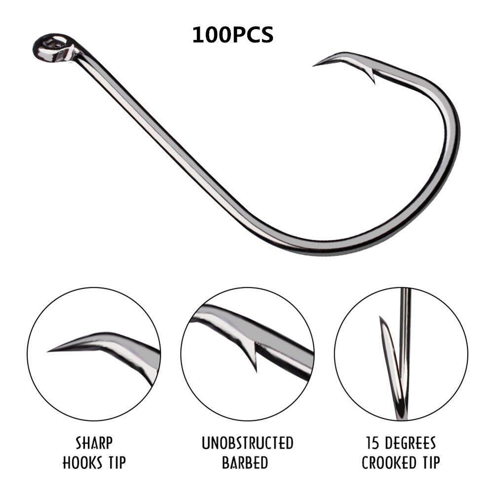 Big Sale 100pcs Fish Jig Hooks With Hole Fishing High Strength Carbon Steel Long Handle Hooks By Four Season Big Sale.