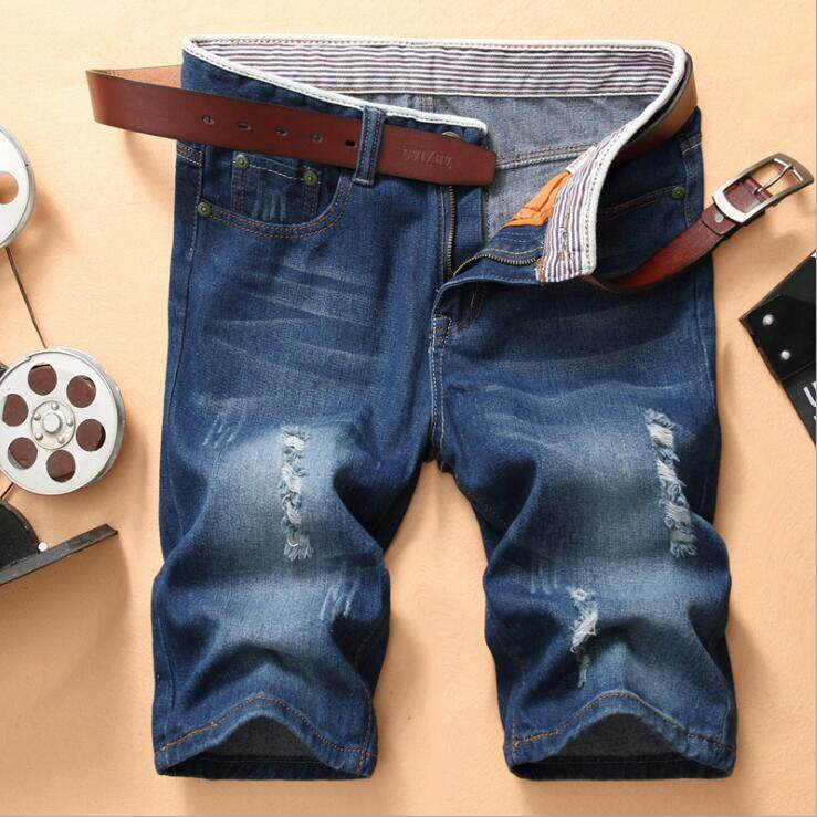 Spring and summer new trend fashion personality Slim small straight hole jeans five pants youth Korean