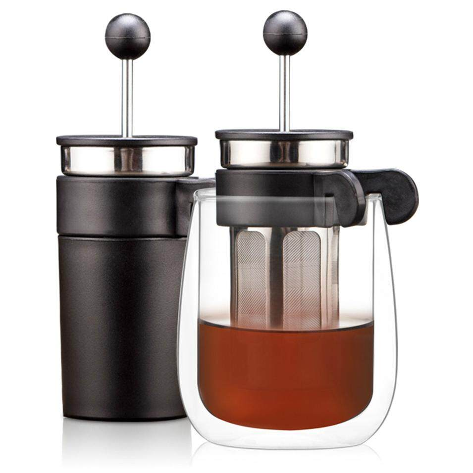 Mini Denmark Bodum French Press Stainless Steel Filter Coffee Pot Household Tea Maker With Double Wall Glsss Heat-resistant Cup