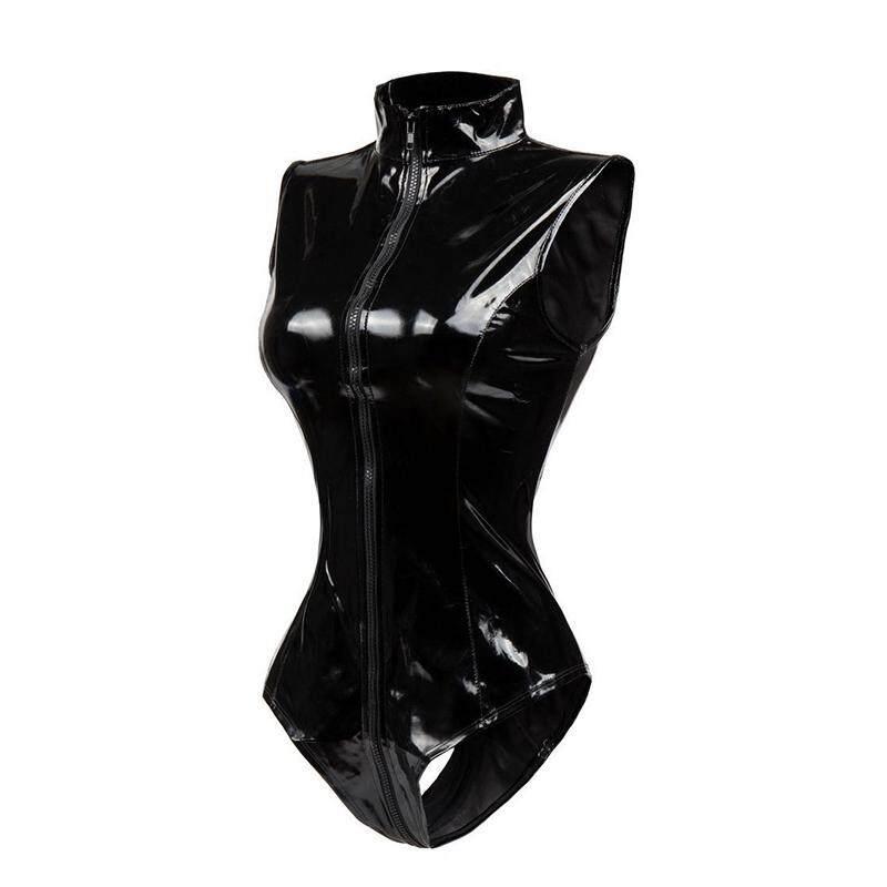Acelit Women Lingerie Cosplay Wetlook Leather Triangular Dress Bodysuit Sexy Jumpsuit