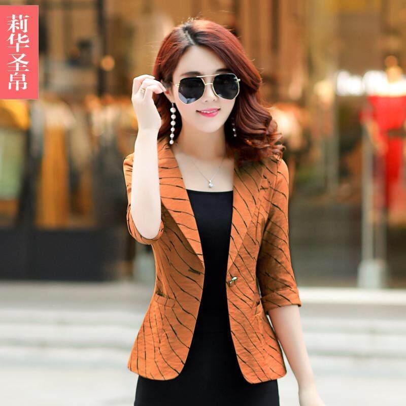 Casual motif garis Setelan jas kecil jaket wanita musim panas Versi Santai Korea model pendek musim gugur Elegan lengan tanggung Setelan jas mini membentuk tubuh - 2