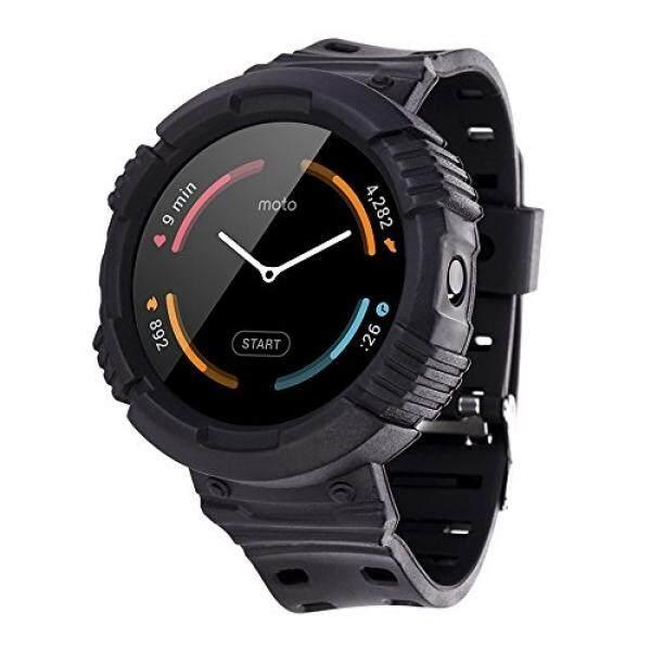 Moretek Kasar Pelindung Case dengan Strap Band untuk Motorola MOTO 360 1nd Gen Smart Watch/Watch Sport Gelang Pengganti (HITAM) -Intl
