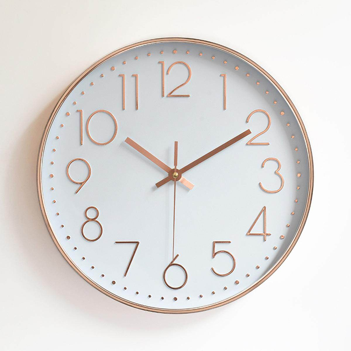 Rose Gold Shiny Wall Clock Kitchen Clock 30cm Contemporary Styling Copper Colour [white]