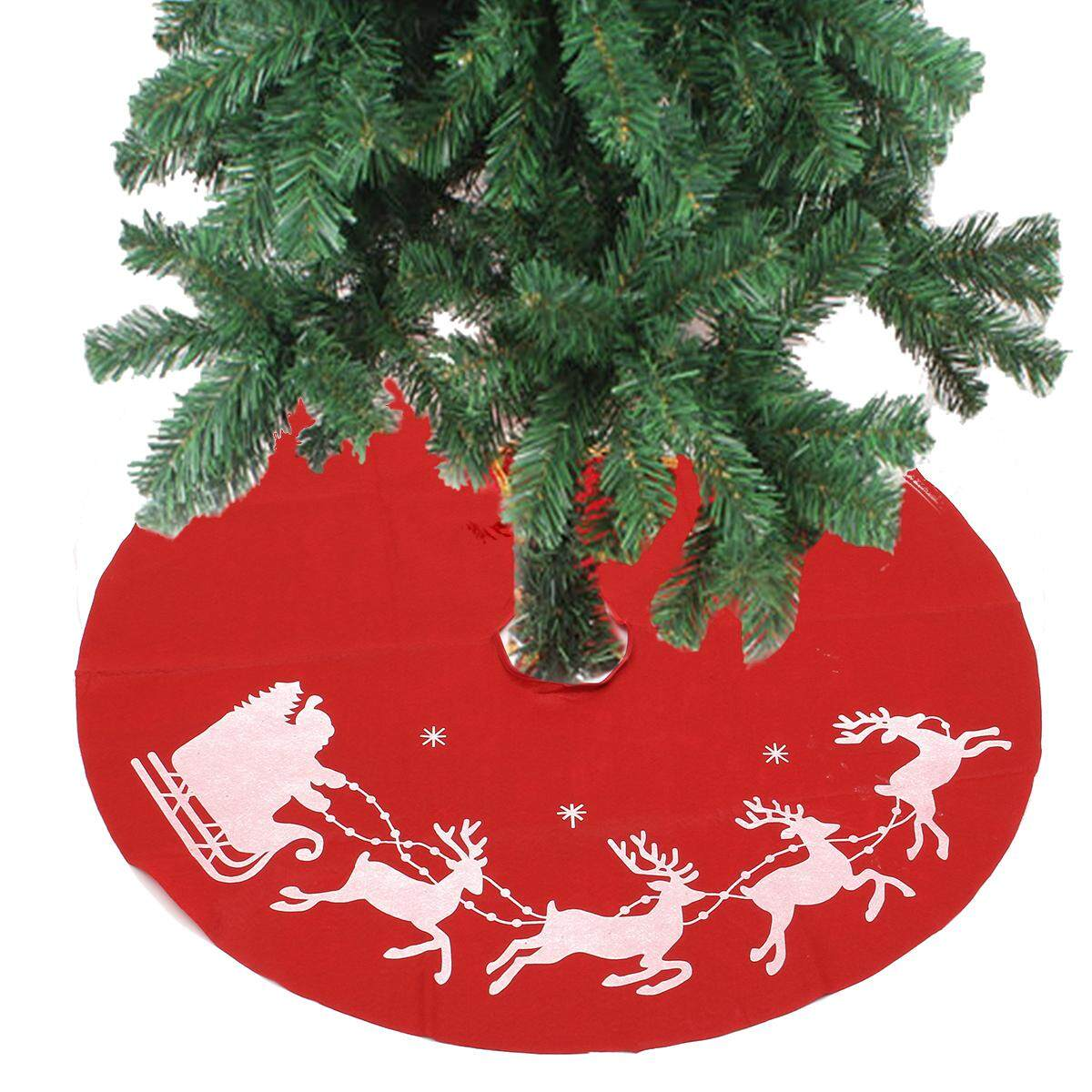 100cm Red Christmas Tree Skirt Santa Claus Tree Skirt Christmas Decoration Supplies Ornament By Glimmer.
