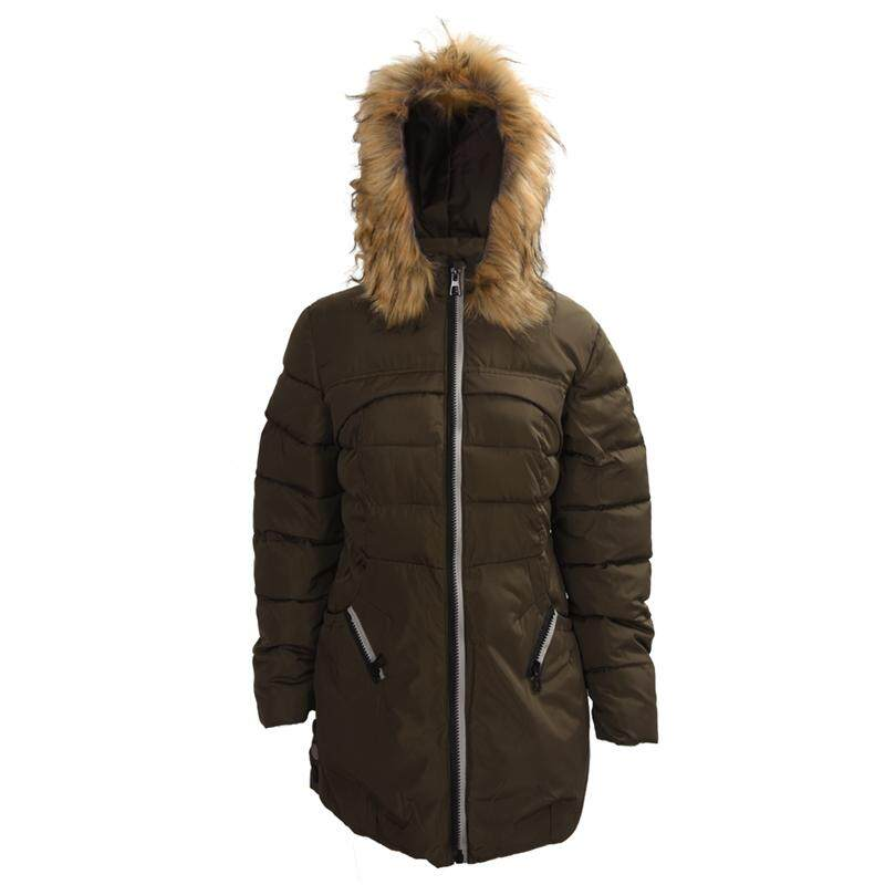 Women Casual Winter Slim Thick Long Down Jacket Fur Collar Coat Overcoat  Army Green L b1e068a185
