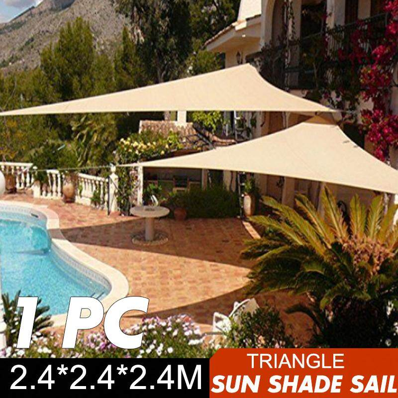 Shade Sail 2.4m Triangle Sun Canopy Patio Awning Waterproof 90% UV Shelter 8ft - intl