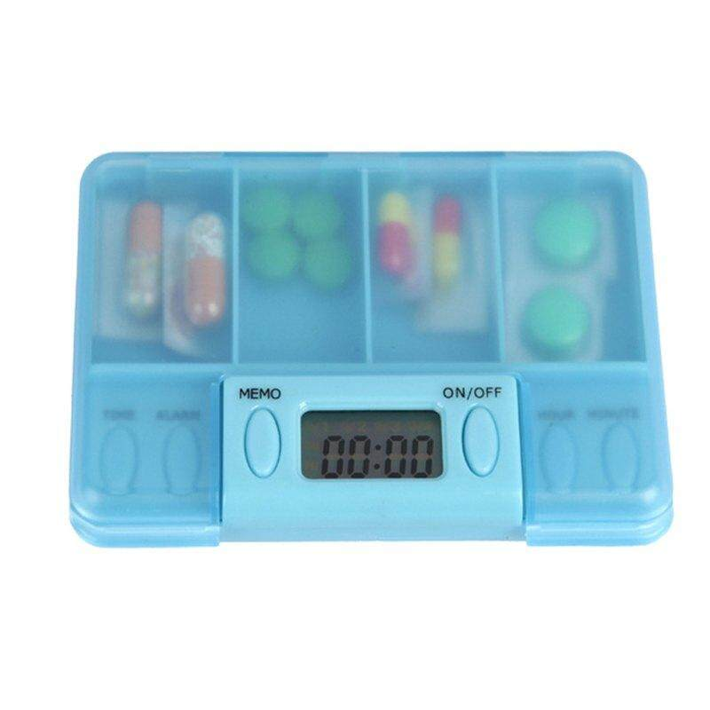 Portable 4 Grid Intelligent Electronic Timing Pill Case Alarm Timer Pill Storage.