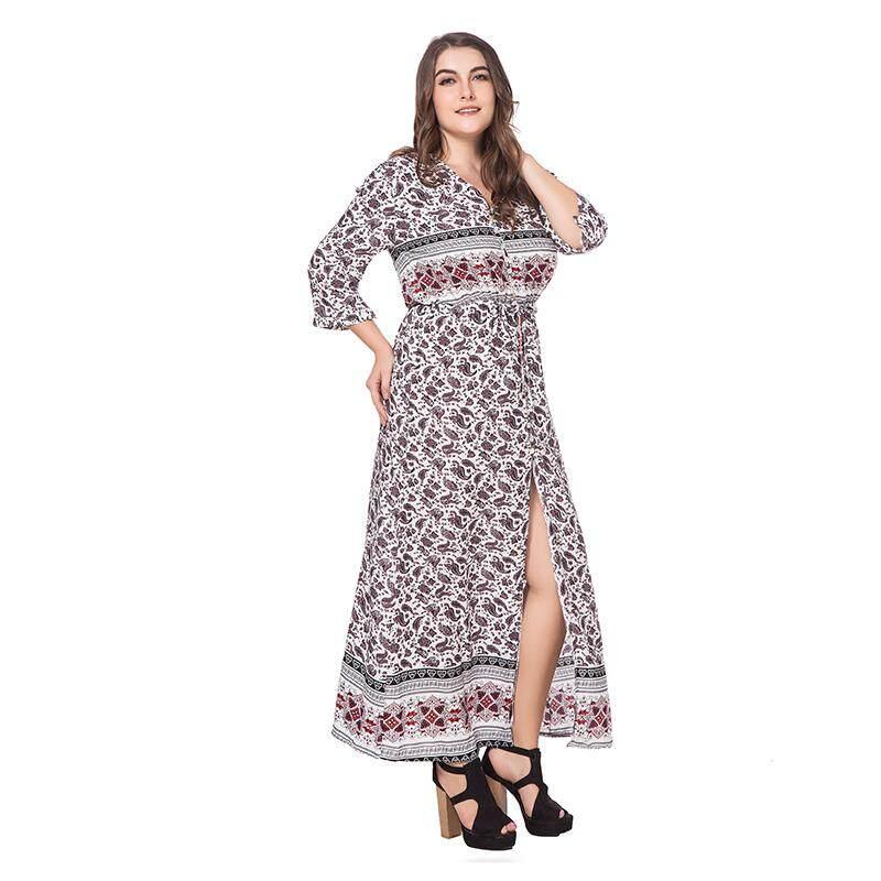 49965dd96d05  XL-4XL  2018 New Women s Floral Bohemian Plus Size Deep-V Neckline