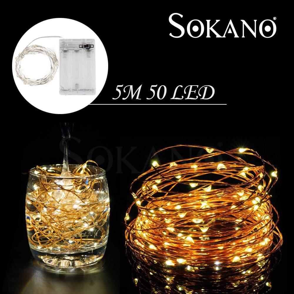 SOKANO Fairy String Lights Indoor And Outdoor LED Copper Wire Light Battery Powered For Christmas Bedroom Garden Party Wedding Decoration Home Deco Lampu Warm White