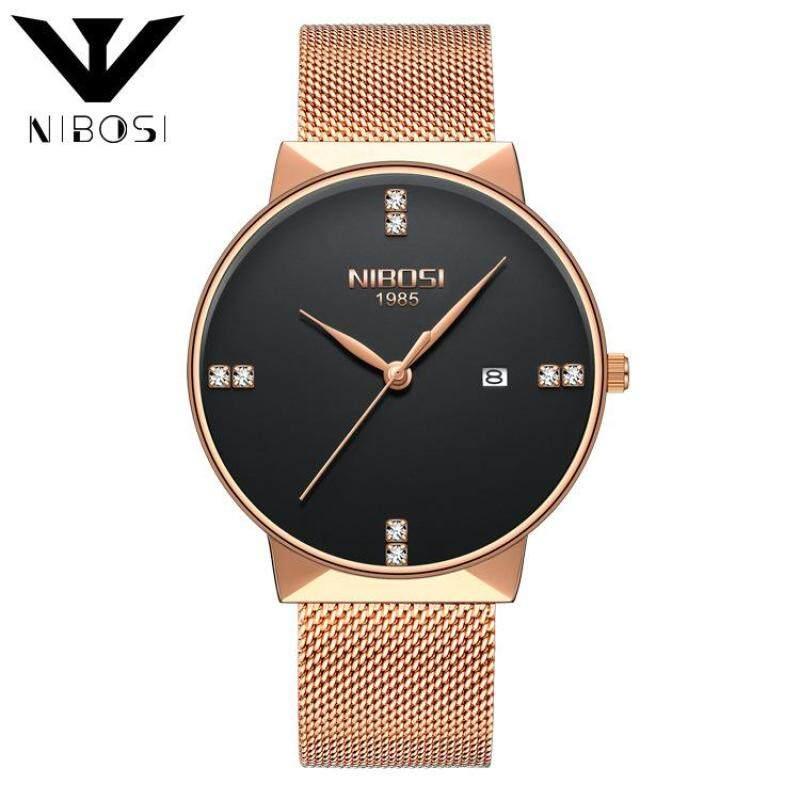 Nibosi Luxury Diamonds Alloy Mesh Band Unisex Quartz Wristwatches 2323 (Rose Gold Band-Black) Malaysia