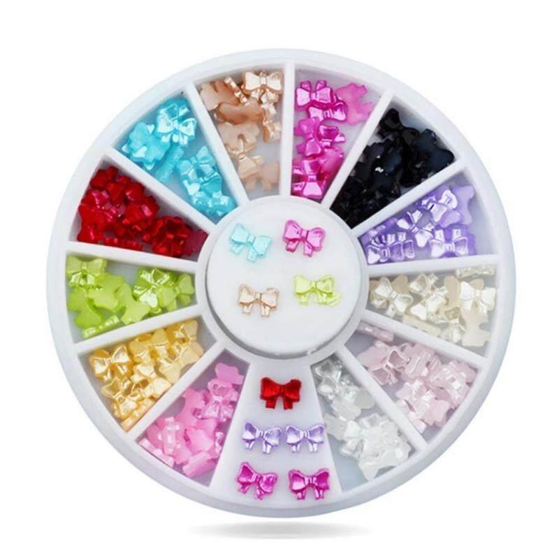 12grids/set Alloy Metal Boeknot Shape Decoration Pearl DIY Nail Art Manicure Charm Disc nhập khẩu