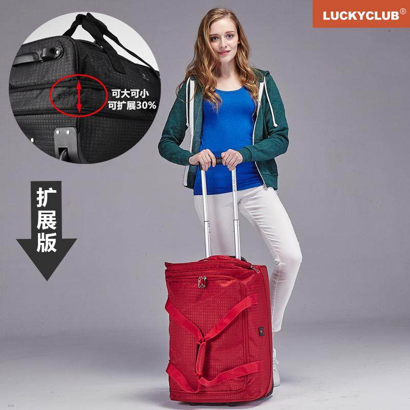 Lucky Club Trolley Backpack Travel Bag Female Male Hand Canvas Short Trip Large Capacity Box Shoulders Luggage Bag