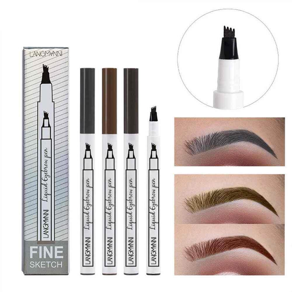 WULI langmanni Long-lasting 4-tooth Tip Design Eyebrow Pencil Eyebrow Pen Women Girl Waterproof Fork Tip Eyebrow Tattoo Pen Brow Pencil #2 Brown Coffee Philippines
