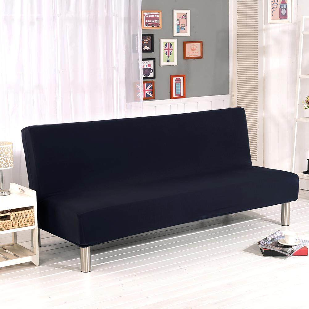 Solid Color All-inclusive Folding Stretch Sofa Bed Sofa Cover Protector Slipcover without Armrests