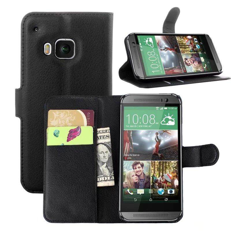 Leather Flip Cover Phone Case Wallet Card Holder For HTC One M9 / S9 - intl
