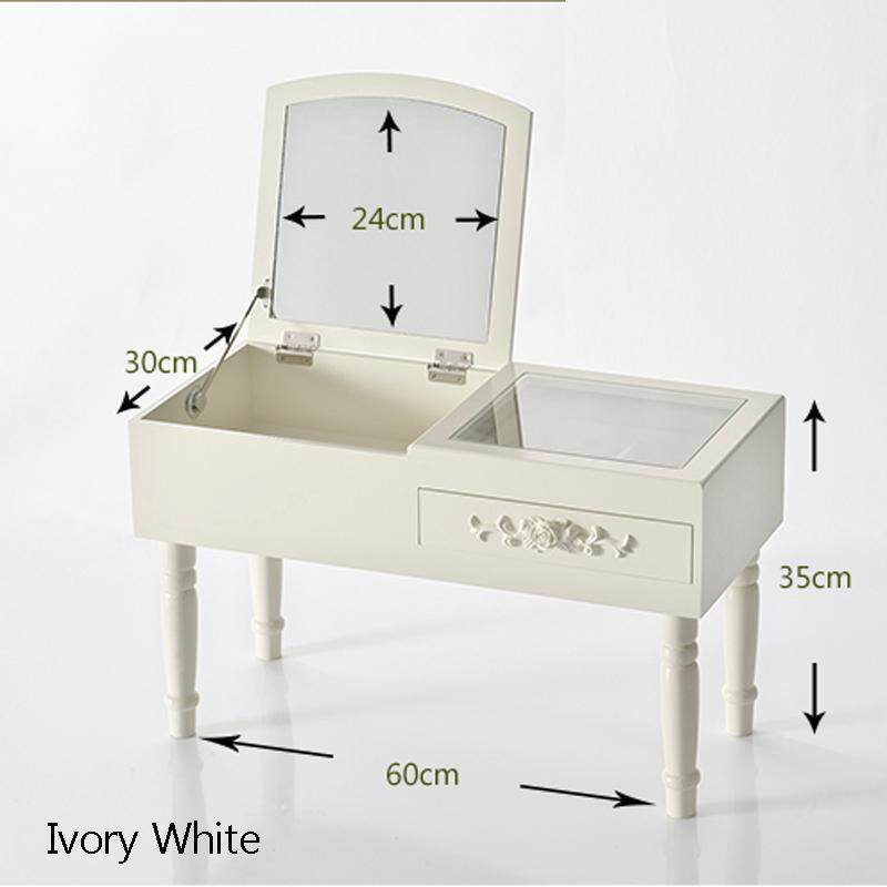RuYiYu - Vanity Table Set with Foldable Mirror, 1 Drawer, 4 Organizers Makeup Dressing Table, Easy Assembly, Gift for Mom - intl