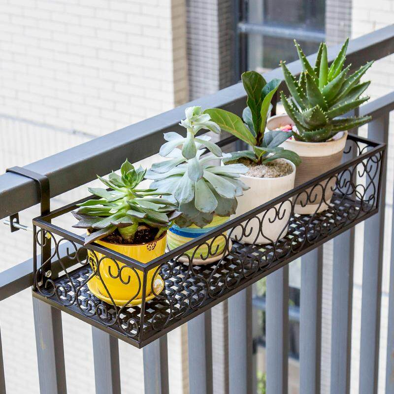 MWT1 European Style Terrace/Patio Pergola Iron Handrail Multilayer Hanging Flowerpot Shelf Wall Hangers Epipremnum Aureum Succulent Pergola