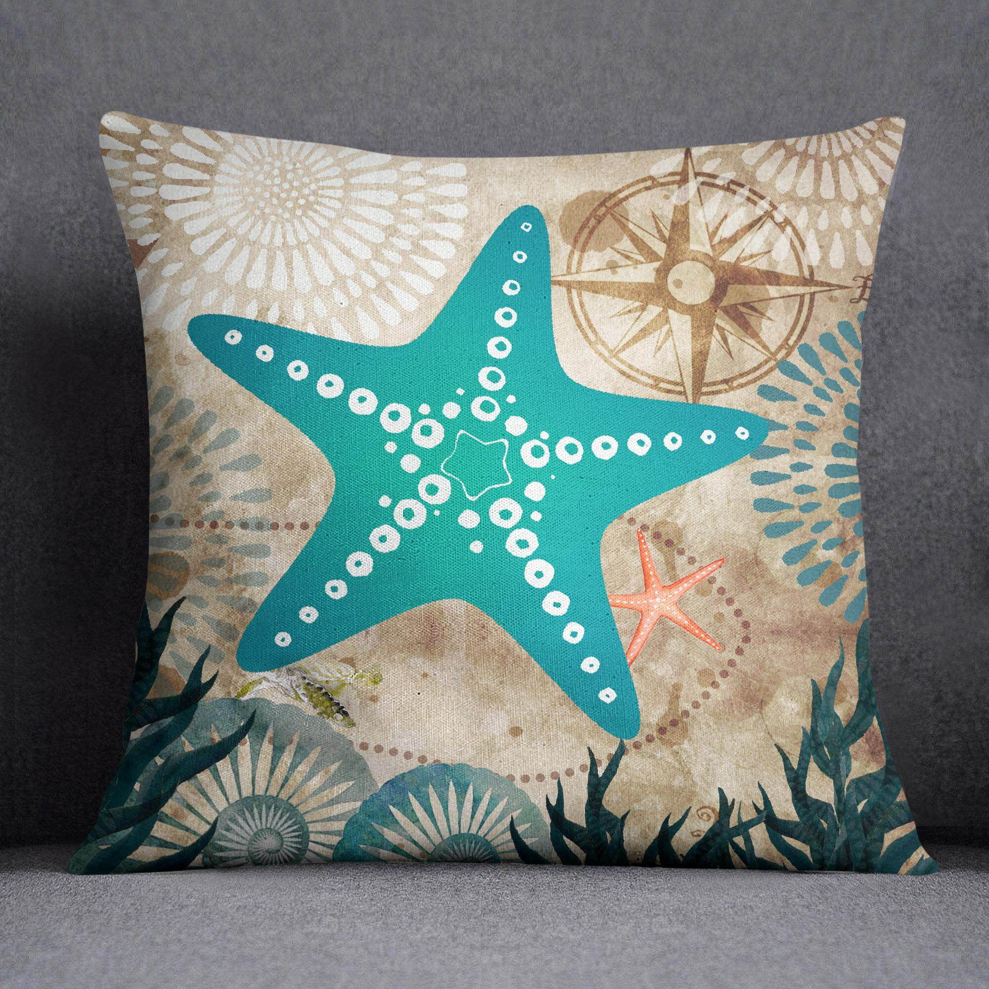 S4sy Mediterranean Style Ocean Star Fish Print Cushion Cover Decorative Square Pillow Throw Case