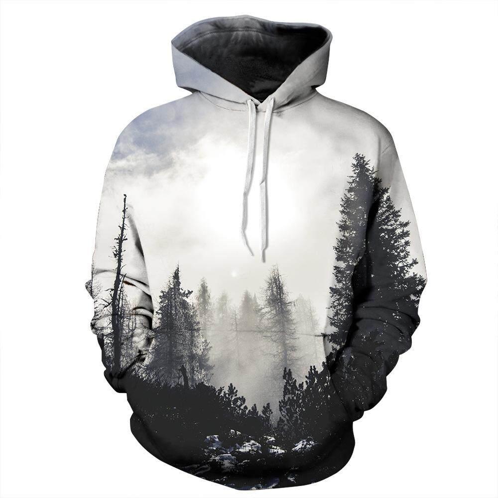 Hutan Pullover Hoodie untuk Pria dan Mode untuk Wanita 3D Digital Printing Seragam Bisbol Bulu Hoodie S Mantel Jaket-Intl