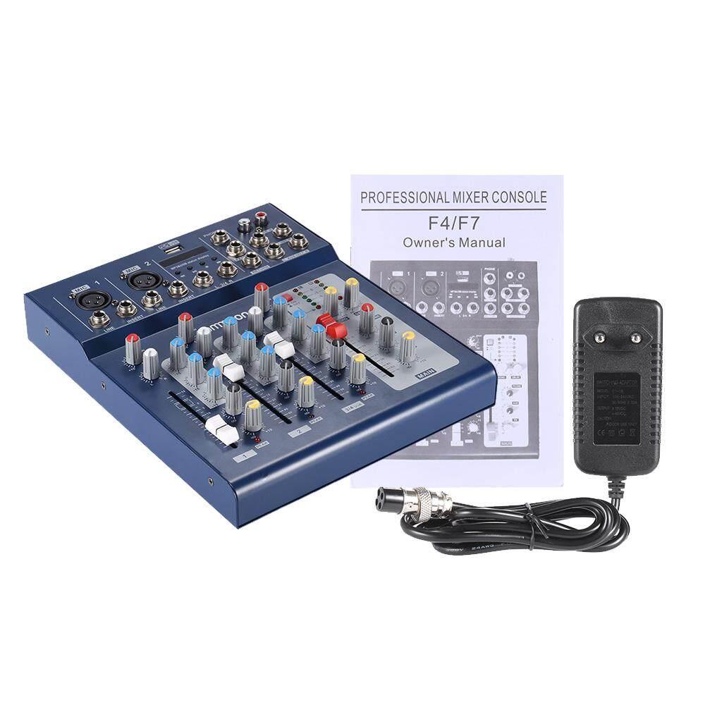 F4-USB 3 Channel Digital MIC Line Mixer Audio Konsol Mixer dengan 48 V Phantom Power untuk Rekaman DJ Karaoke Panggung Apresiasi