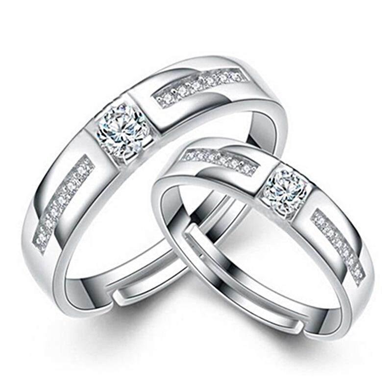Fashion Korea kualitas tinggi perak 1 pasang cincin pasangan untuk ukuran disesuaikan dengan kotak hadiah gratis