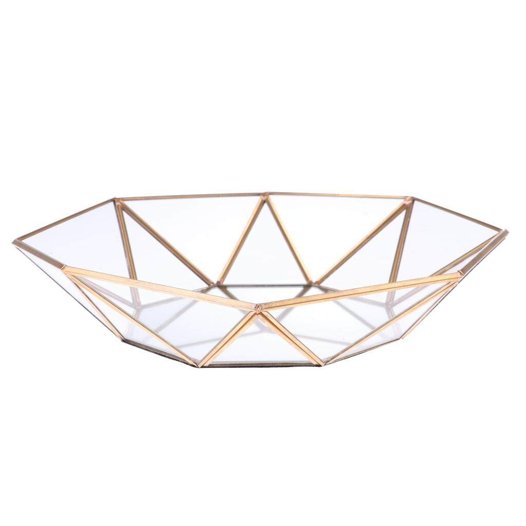 GuangquanStrade Geometric Terrarium Glass Jewelry Organizer Succulent Planter 29 x 29 x 6cm