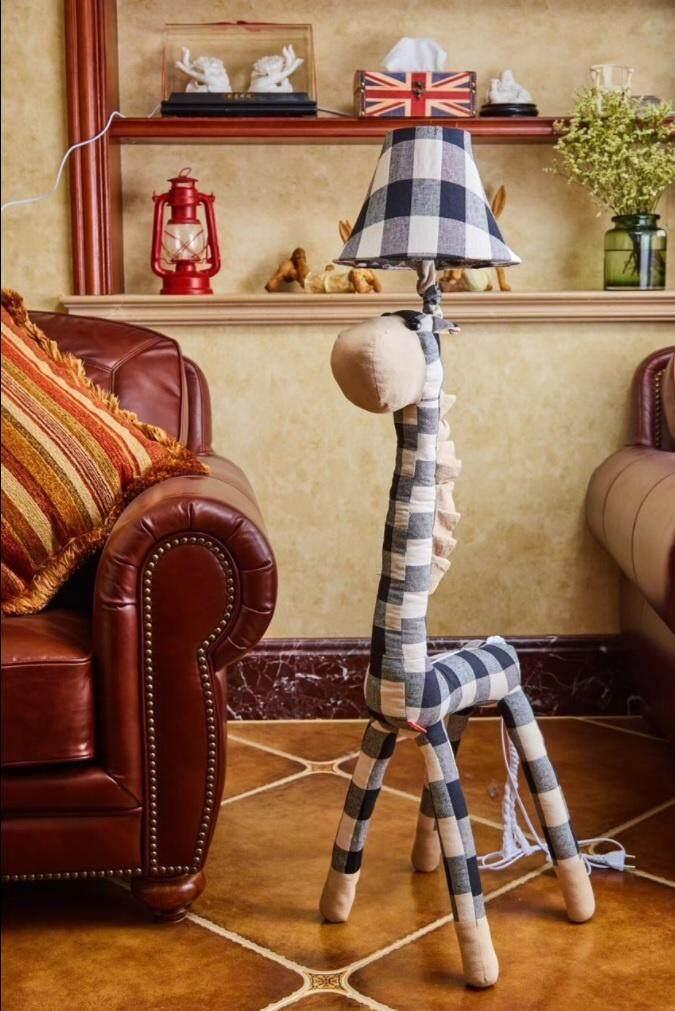 Stuffed Animal Giraffe Floor Lamp for Kids Safety Children Bedroom Game Room House Decoration (Black Stripe Version, E27 Light Bulb Compatible, 40W)