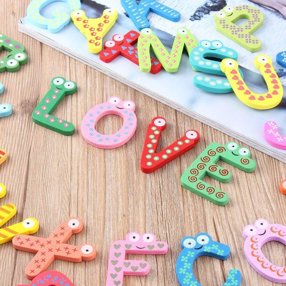Hadiah Kulkas Magnet Kayu Bayi Mainan Anak-anak A-Z ABC Pendidikan Alfabet 26 Huruf-