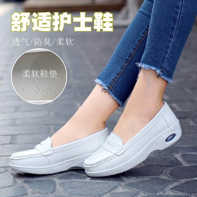 41bb7023cdb8 2018 Women Flat Platform Loafers Shoes Ladies Suede Leather Nurse Casual Shoes  Slip on Flats