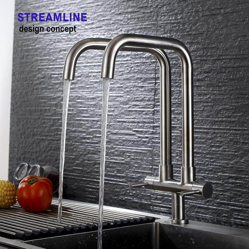 SUS304 Stainless Steel Kitchen Basin Sink Modern Rotate Double Twin 7 Spout Tap Faucet Pillar