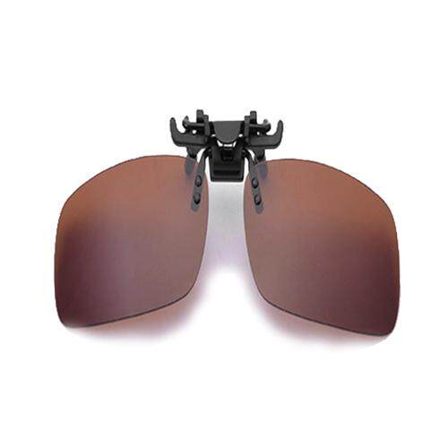 Polarized Day Vision Clip-on Flip-up Lens Sunglasses Driving Glasses Brown L
