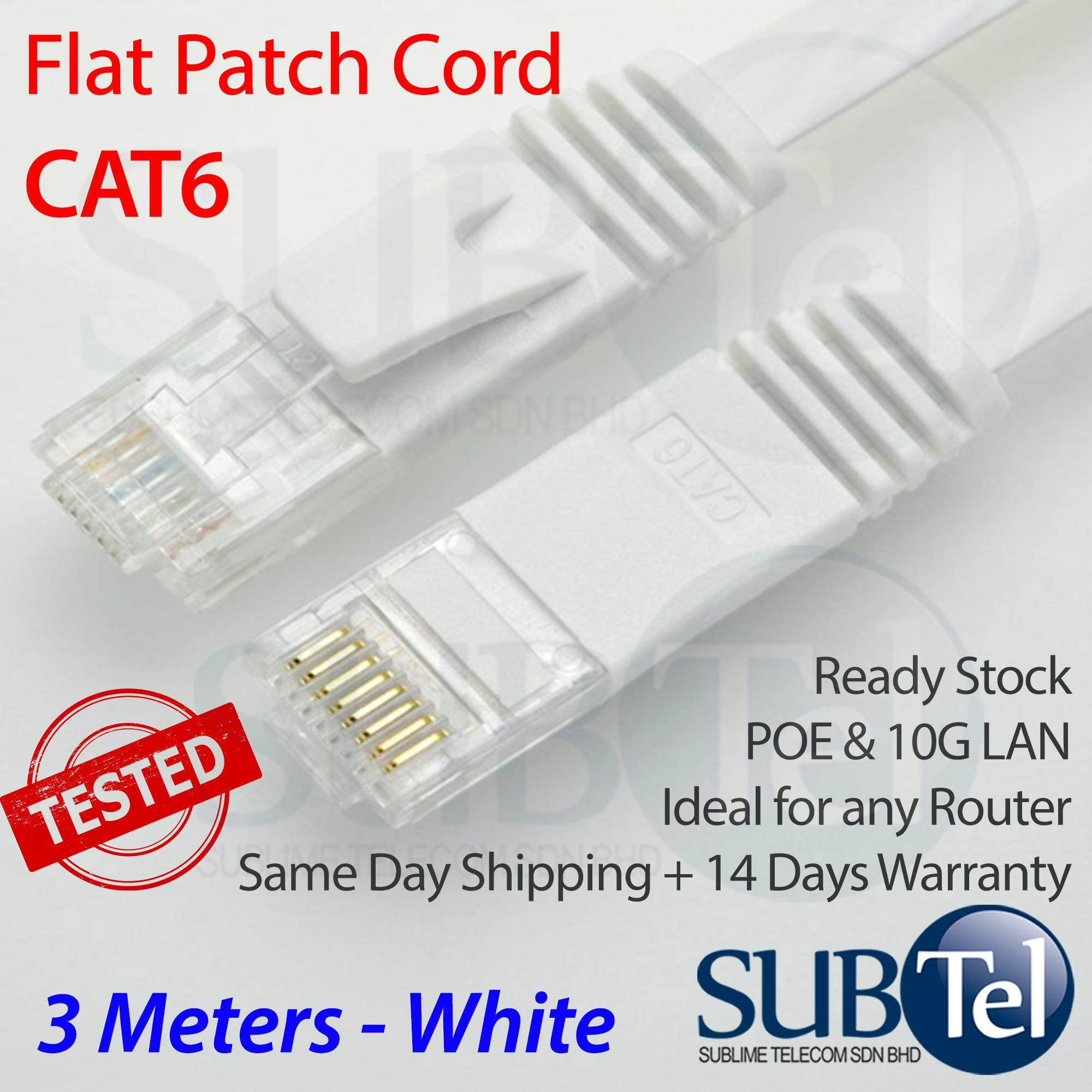 Computer Laptop Ethernet Cables For The Best Prices In Malaysia Cat 5e Patch Cords Outdoor Cat5e 3m Cat6 Flat Cord Lan Cable Gigabit 10g Rj45 Utp Black Or