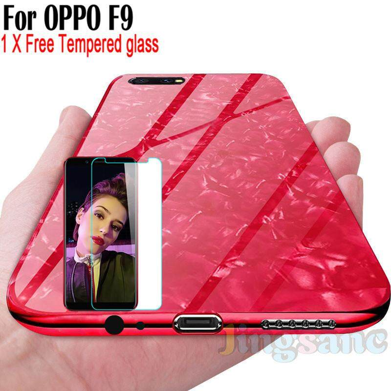For OPPO F9 [Phone Case+Tempere Glass] Fashion Glass Case Scratchproof Soft TPU