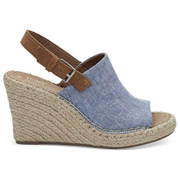 TOMS Womens Blue Chambray Monica Wedges 10011845 (Size: 8) - intl