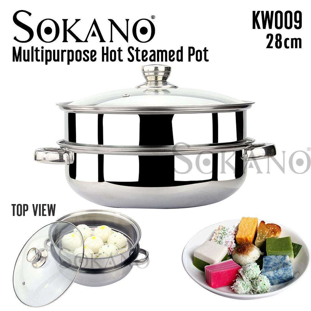 (RAYA 2019) SOKANO KW009 28cm Dual Layer Multipurpose Hot Steamed Pot Set Premium High Quality Stainless Steel Pot With Transparent Glass Lid
