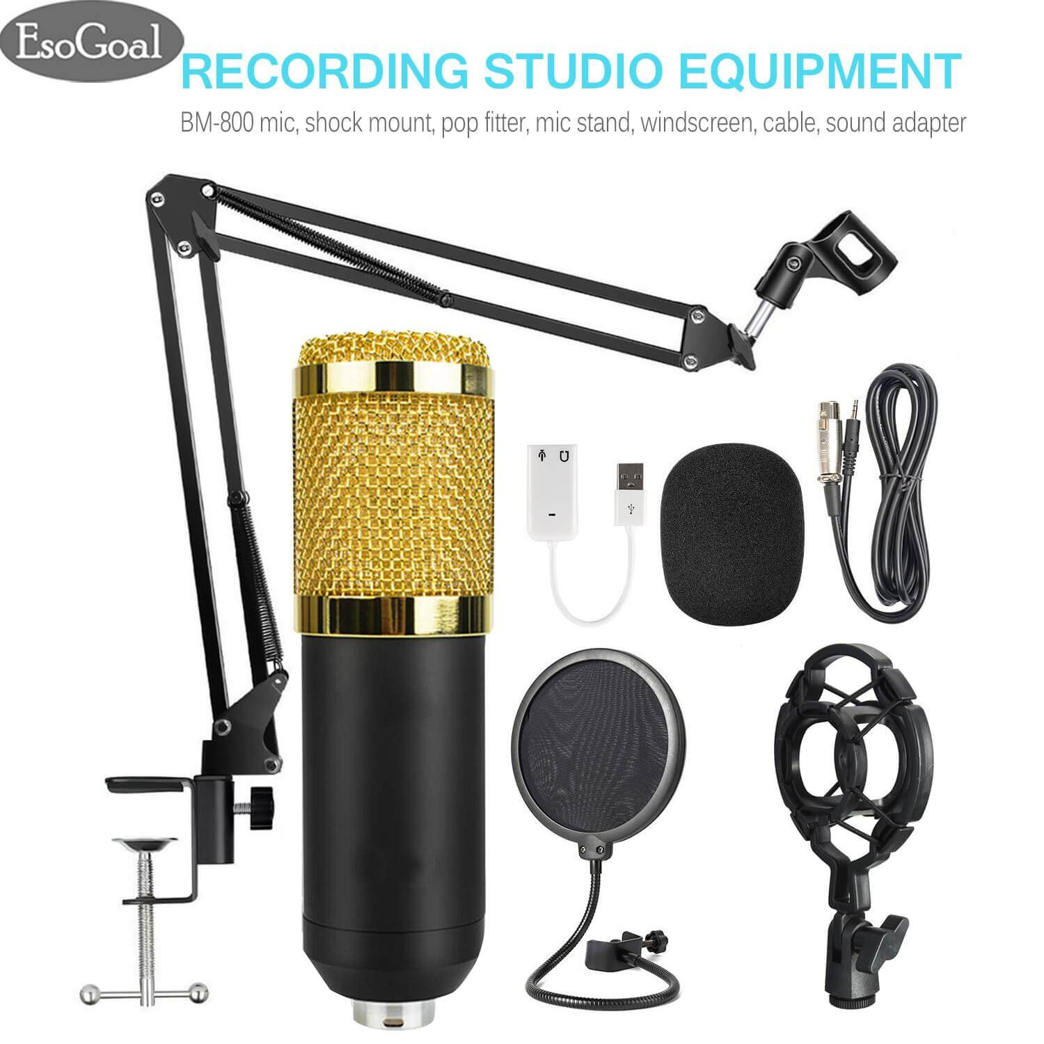 Esogoal Microphone Accessories Professional Recording Studio Equipment, Bm-800 Mic Kit With Adjustable Mic Suspension Scissor Arm, Shock Mount And Double-Layer Pop Filter For Studio Recording & Brocasting By Esogoal.