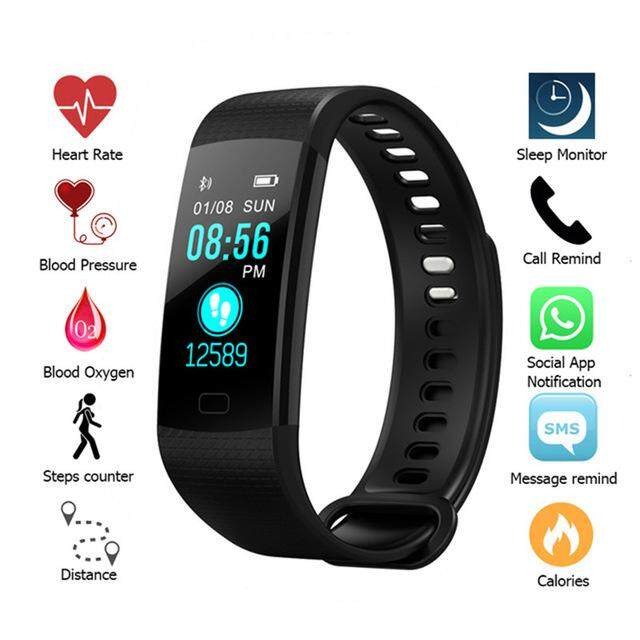 Dotec Bluetooth Smart Bracelet Color Screen Y5 Smartband Heart Rate Monitor Blood Pressure Measurement Fitness Tracker Smart Watch Men Wristwatch By Dotec.