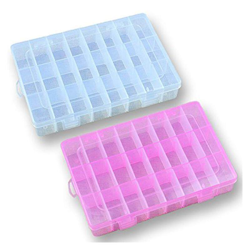 2x Plastic Storage Box (24 Compartments) Jewelry Earring Tool Containers (transparent+pink) By Happyang.