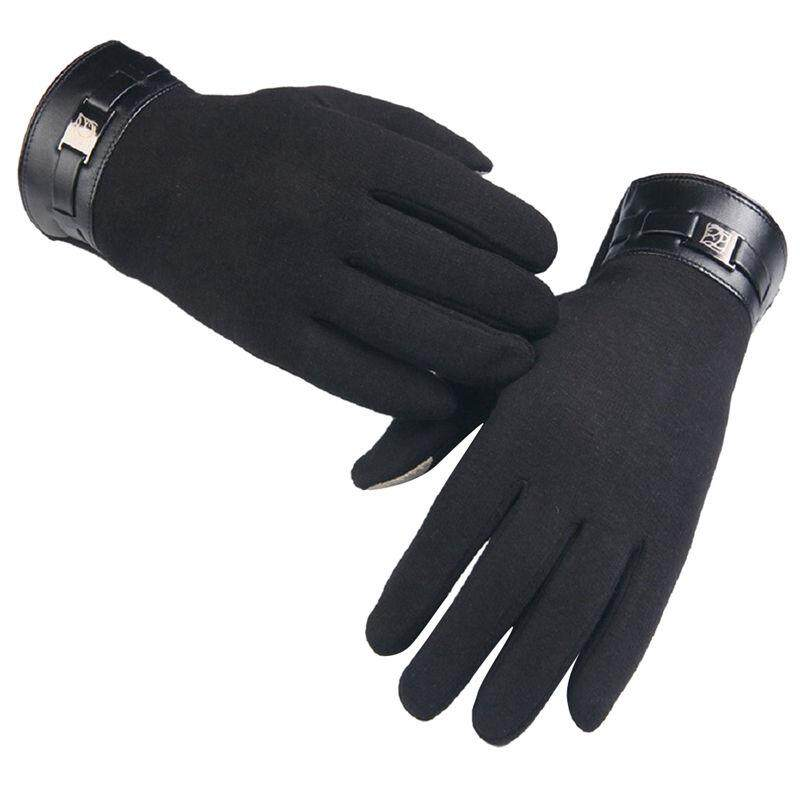 Fleece material square metal decorative touch screen gloves Cashmere Mittens Men's Winter Full Finger Touch Gloves