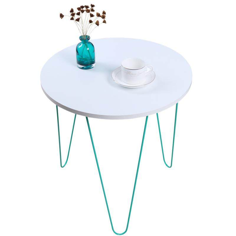 RuYiYu - Creative Round Coffee Table, Multi-color Optional, Black/White Metal Frame, Coffe Table with X-base - intl