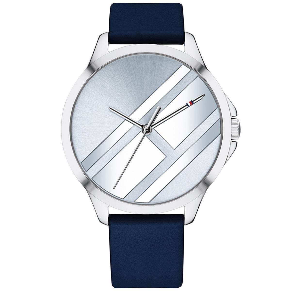 87247d1d0e6191 Tommy Hilfiger Peyton Blue Stainless-Steel Case Leather Strap Ladies 1781964