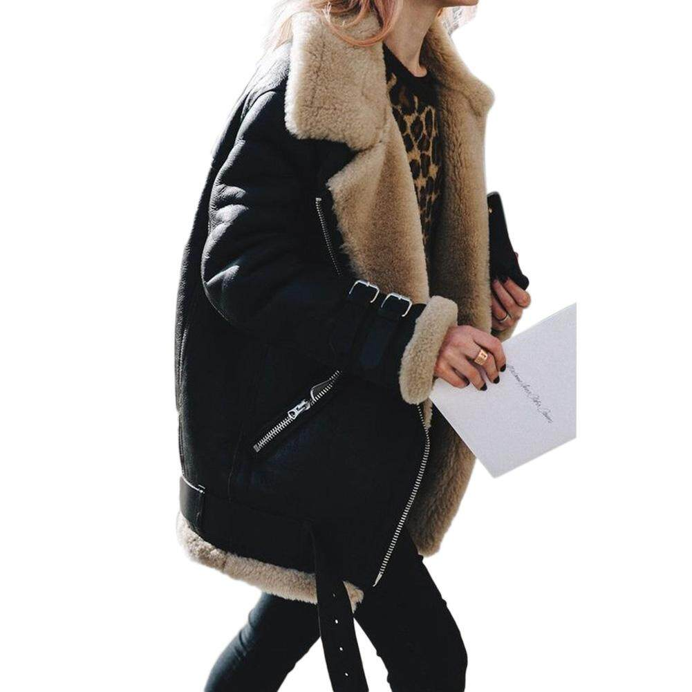 Veecome Women Suede Cotton Jacket Lady Winter Coat Warm Plush Tops By Veecome.