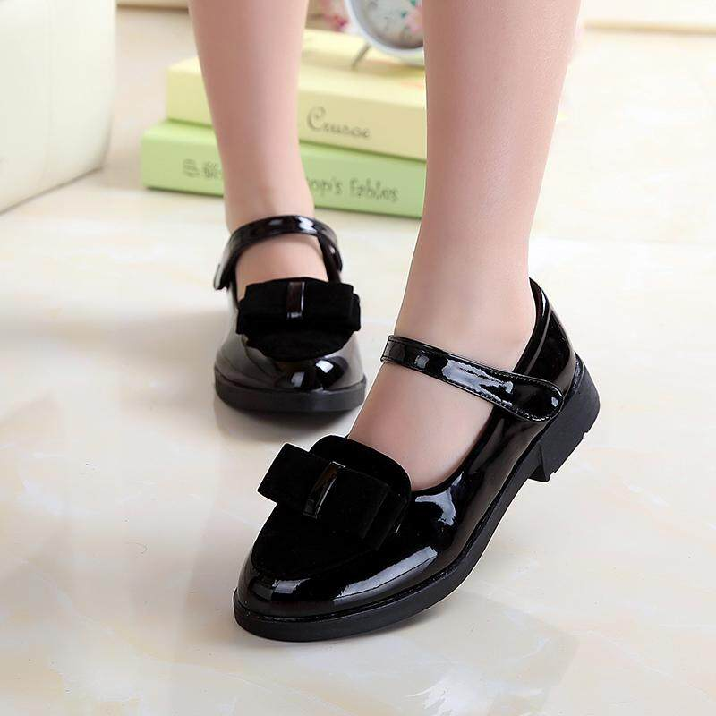 Girls Bow Leather Shoes 2018 Autumn New Products Korean Style Princess Shoes Girl Women Dance Shoes Students Shoes Big Boy By Taobao Collection.