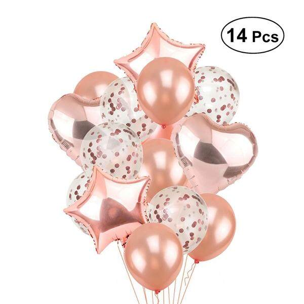 14pcs Rose Gold Paillette Confetti Balloons Clear With Glitter Heart Shape Star