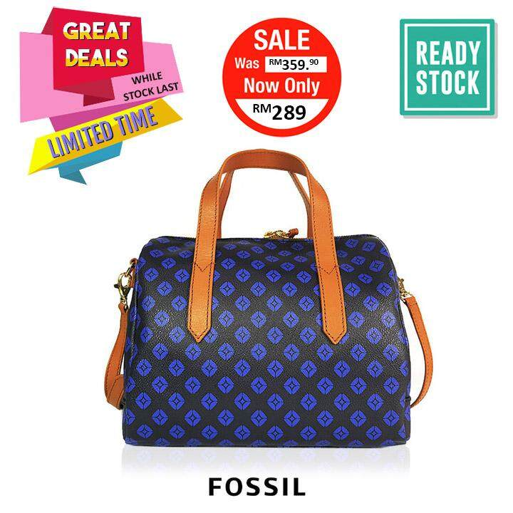 Authentic Fossil Sydney Satchel Blue Clearance